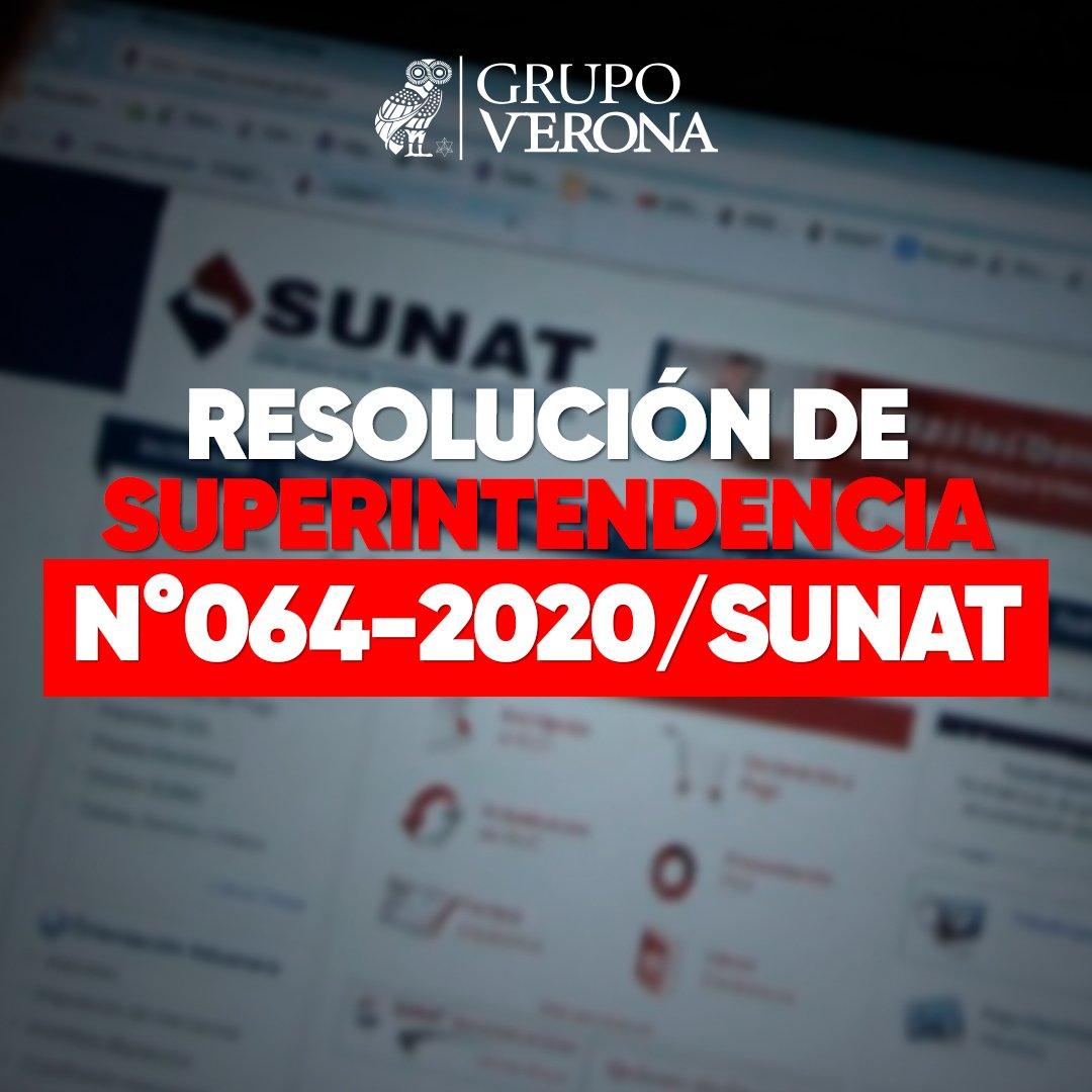 Resolución De Superintendencia N°064-2020/SUNAT