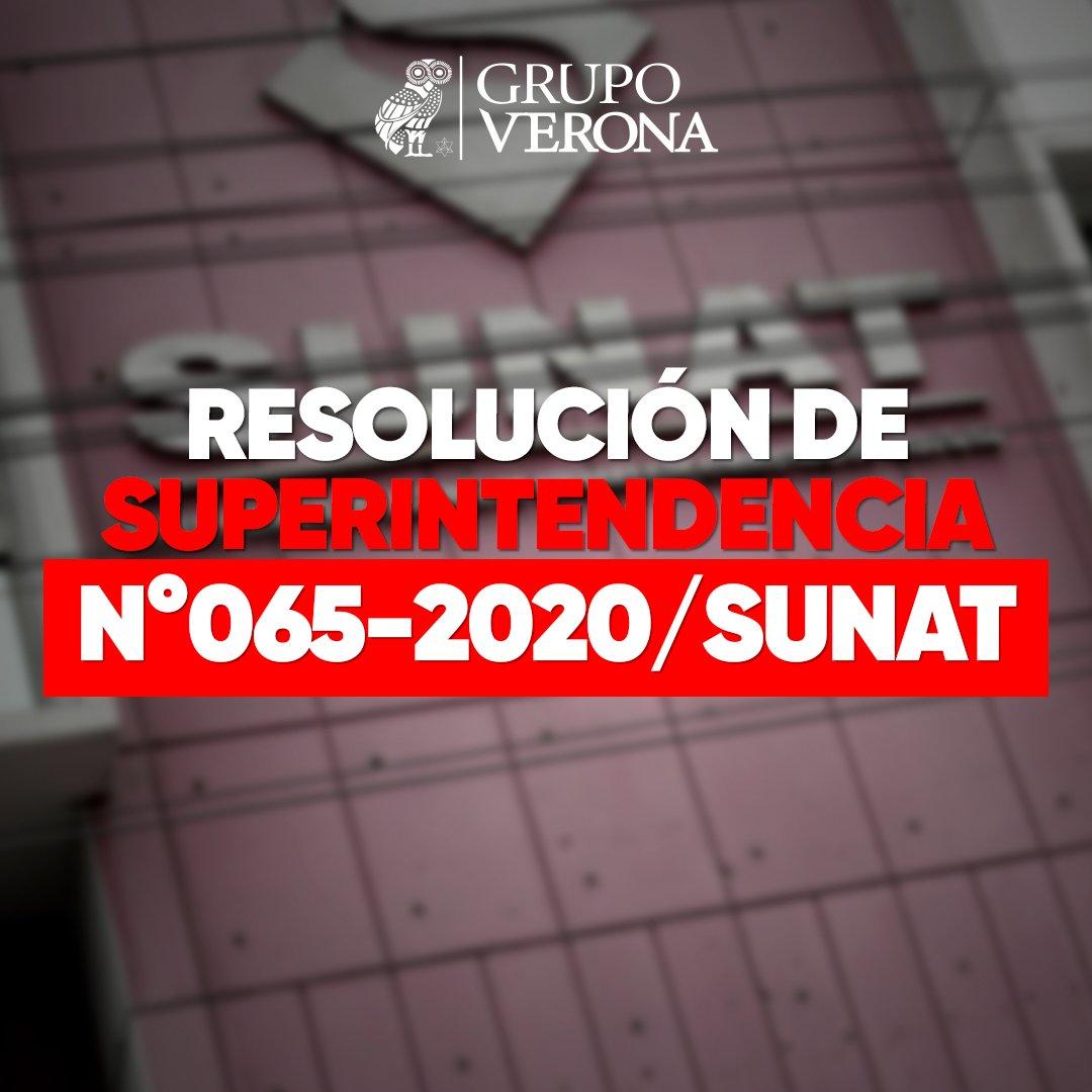 Resolución De Superintendencia N°065-2020/SUNAT