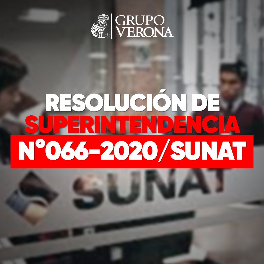 Resolución De Superintendencia N°066-2020/SUNAT
