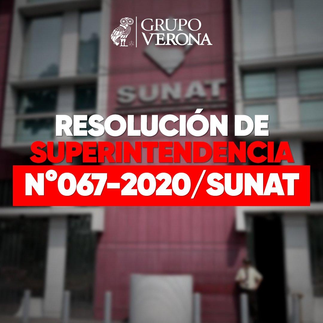 Resolución De Superintendencia N°067-2020/SUNAT