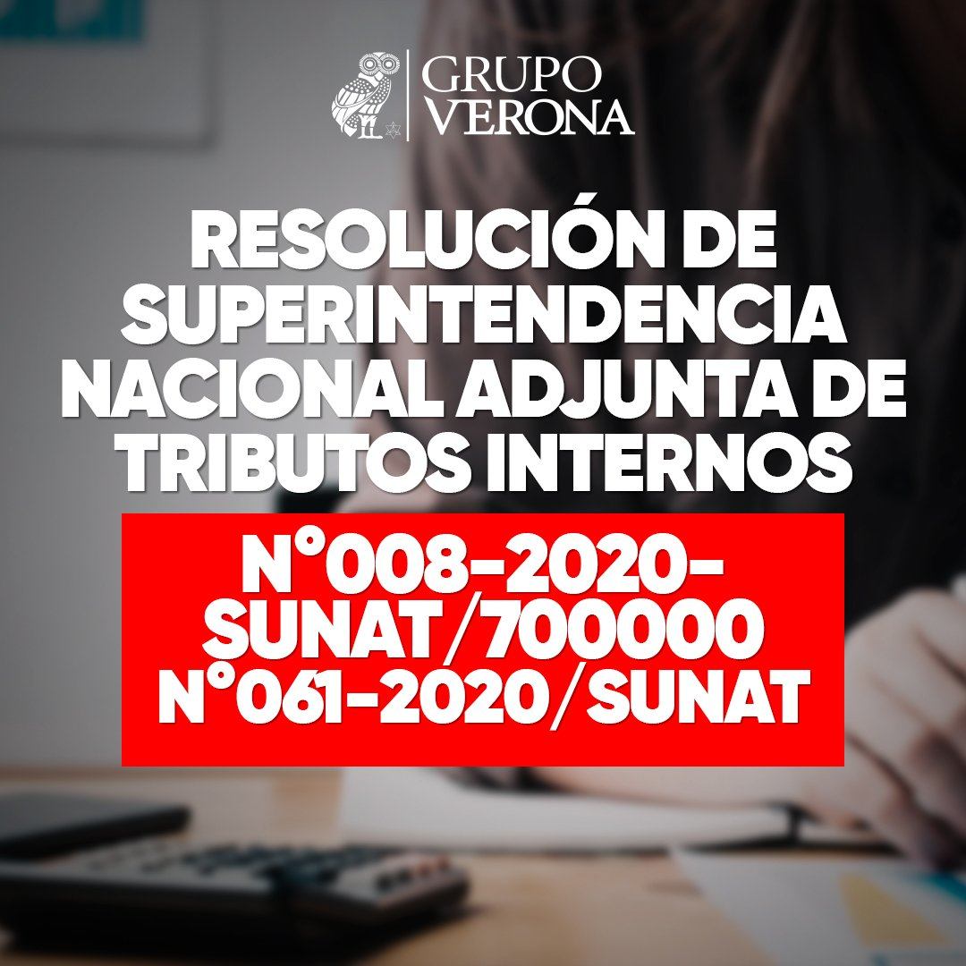 Resolución De Superintendencia Nacional Adjunta De Tributos Internos N°008-2020-SUNAT/700000