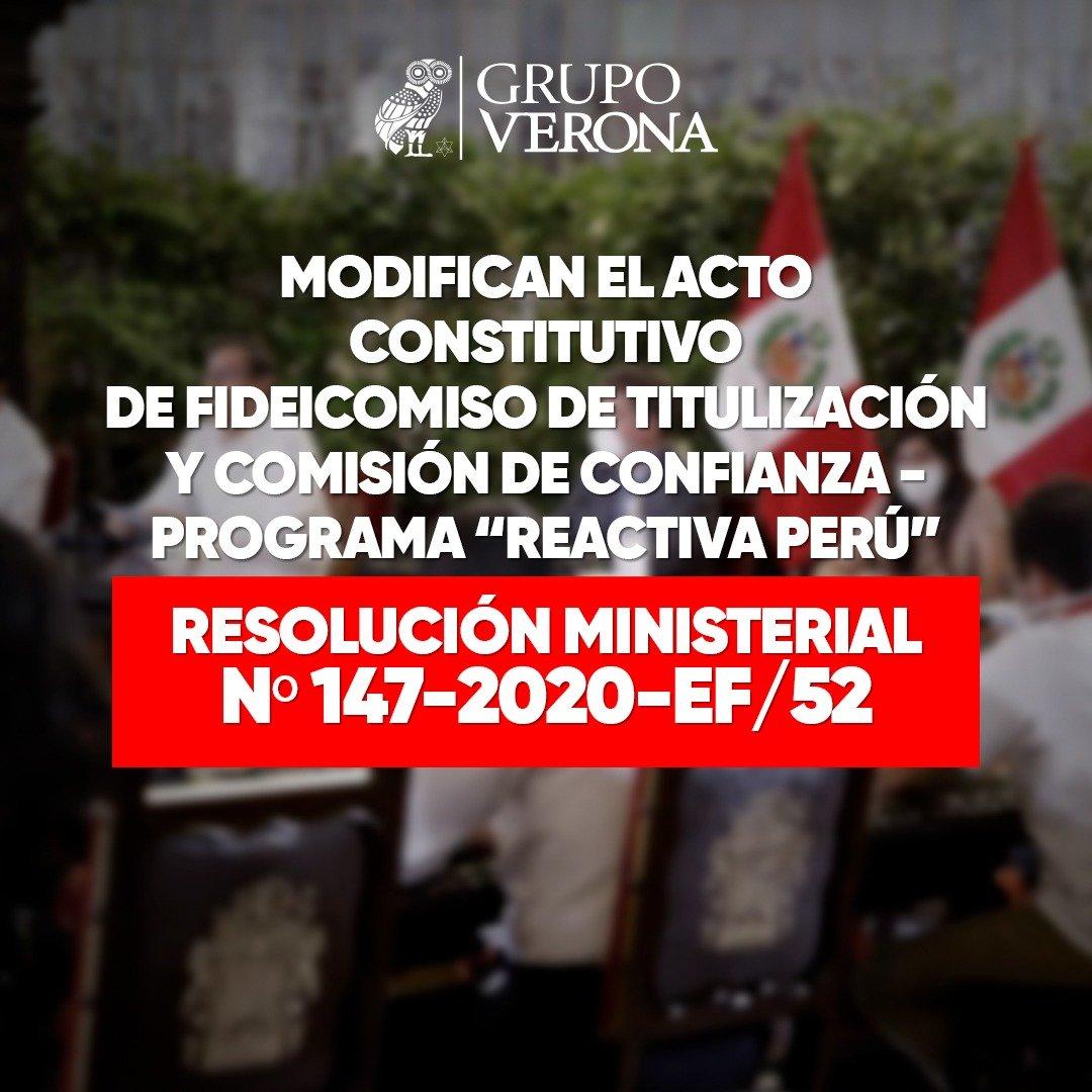 RESOLUCIÓN MINISTERIAL Nº 147-2020-EF/52