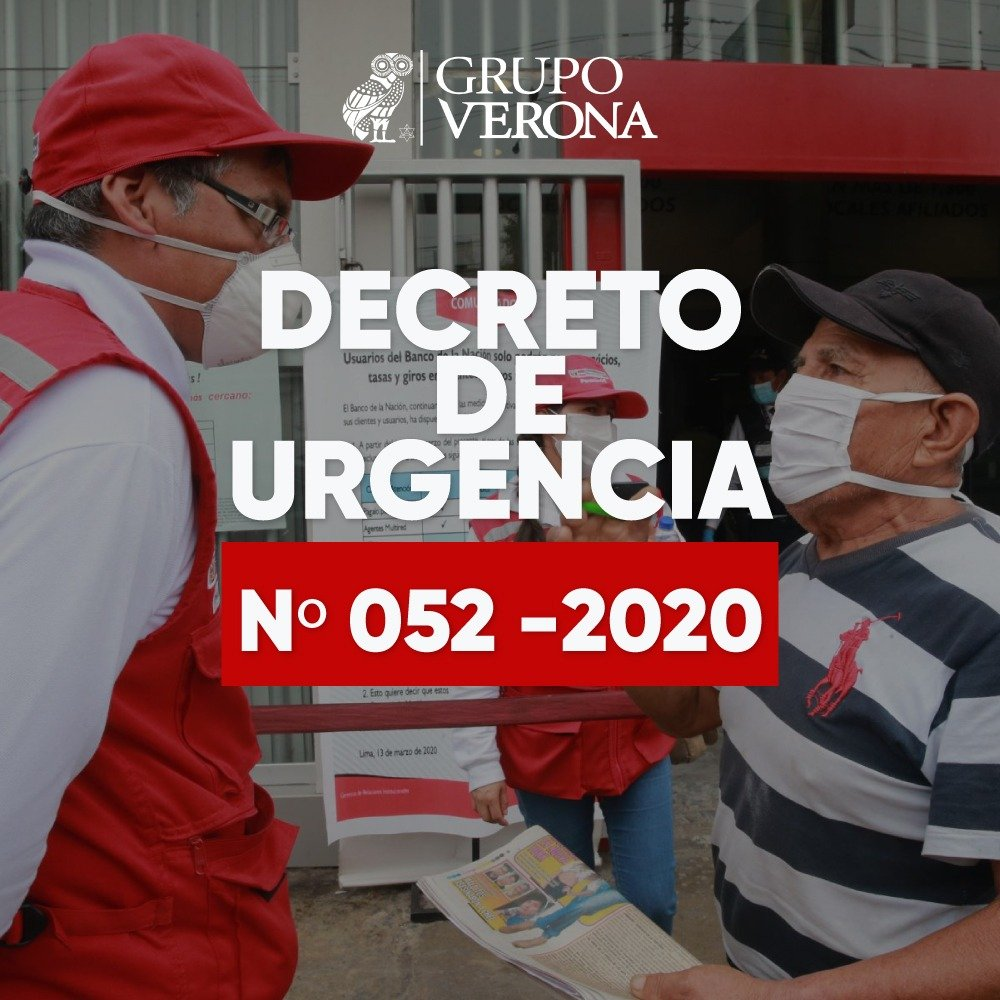 DECRETO DE URGENCIA Nº 052 -2020