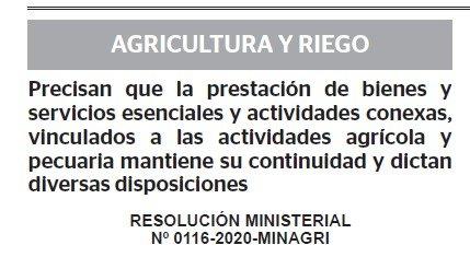 RESOLUCION MINISTERIAL N° 0116-2020-MINAGRI