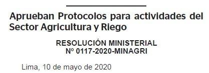 RESOLUCION MINISTERIAL N° 0117-2020-MINAGRI