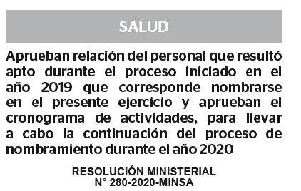 RESOLUCION MINISTERIAL N° 280-2020-MINSA