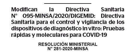 RESOLUCION MINISTERIAL N° 281-2020-MINSA