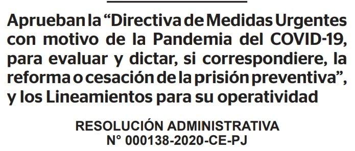 RESOLUCION ADMINISTRATIVA N° 000138-2020-CE-PJ