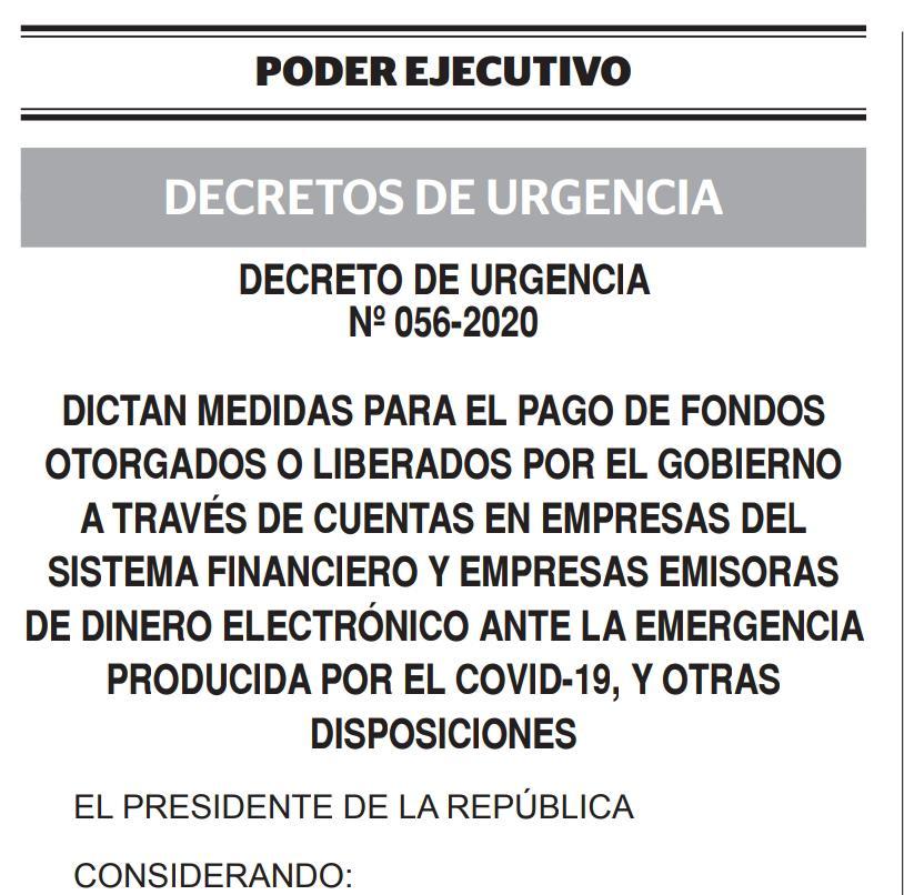 DECRETO DE URGENCIA N° 056-2020