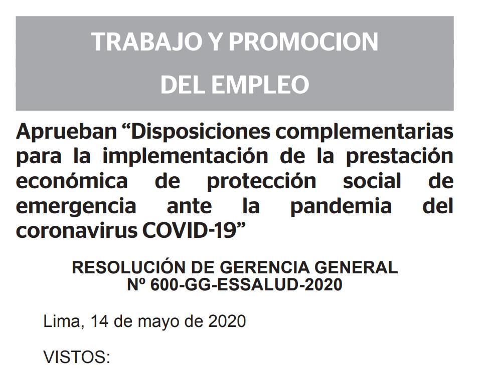 RESOLUCION N° 600-GG-ESSALUD-2020