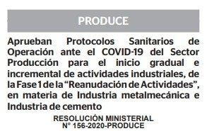RESOLUCIÓN MINISTERIAL N° 156-2020-PRODUCE
