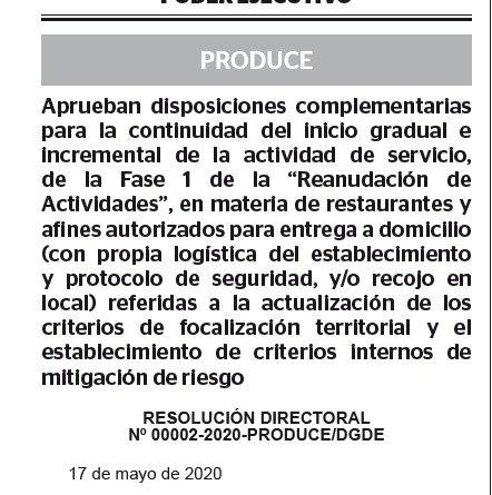 RESOLUCIÓN DIRECTORAL Nº 00002-2020-PRODUCE/DGDE