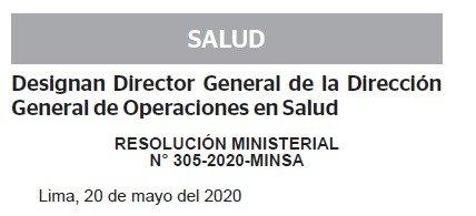 RESOLUCION MINISTERIAL N° 306-2020-MINSA