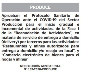 RESOLUCION MINISTERIAL N° 163-2020-PRODUCE