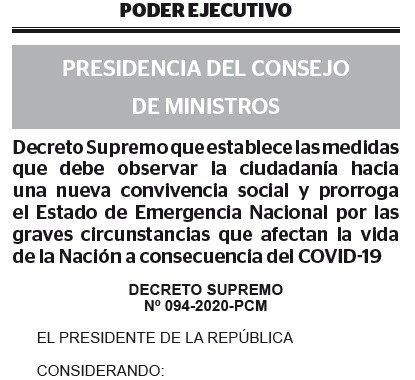 DECRETO SUPREMO N° 094-2020-PCM