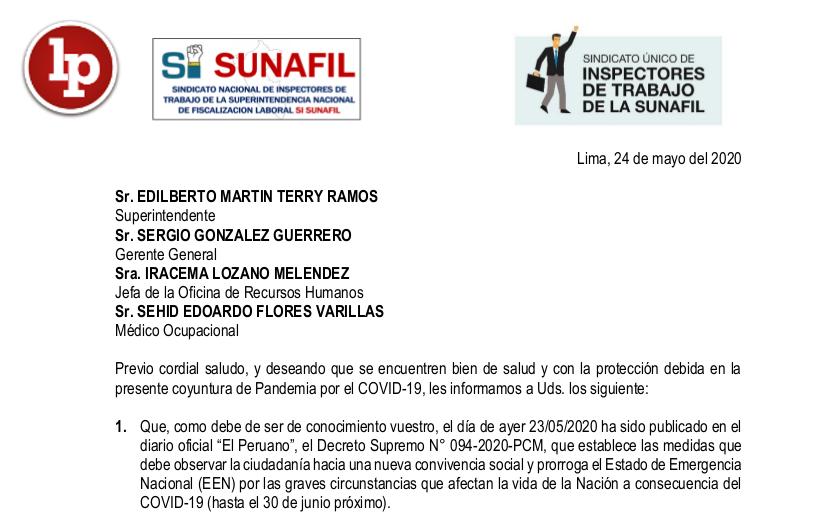 Comunicado Del Sindicato De Trabajadores De La SUNAFIL