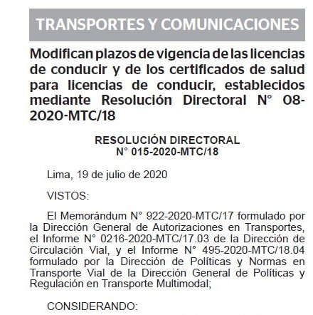 DECRETO SUPREMO N° 016-2020-MTC