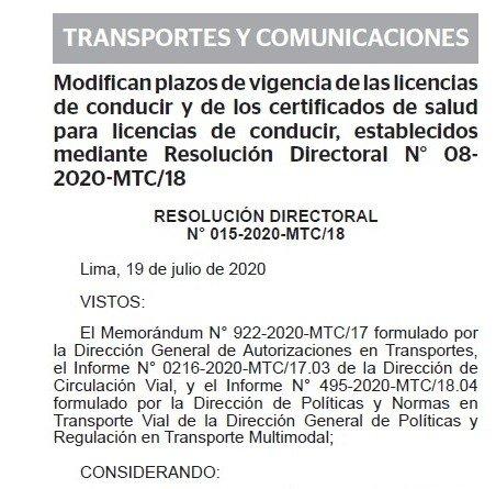 RESOLUCION DIRECTORAL N° 015-2020-MTC/18