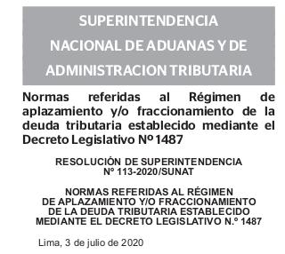 Resolución De Superientendencia N° 113-2020/SUNAT
