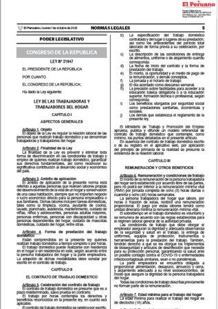 Ley De Trabajadoras Del Hogar | Ley 31407