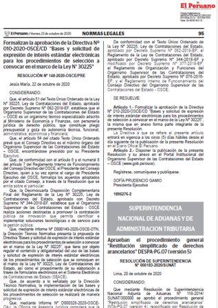 """Procedimiento General """"Restitución Simplificado De Derechos Arancelarios"""""""