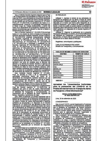 Lineamientos Para Servicios De Transporte Aéreo Internacional Resolución Ministerial 0643-2020-MTC/01