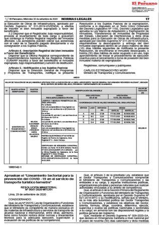 Lineamientos Para Servicio De Transporte Público Terrestre Resolución Ministerial 0641-2020-MTC/01