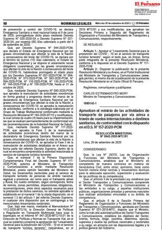 Reinicio De Actividades De Transporte Por Vía Aérea A Destinos Sanitarios Resolución Ministerial 0642-2020-MTC/01