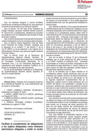 Recibos Electrónicos De Empresas Supervisadas- Servicios De Telecomunicaciones Resolución De Superintendencia 000160-2020/SUNAT