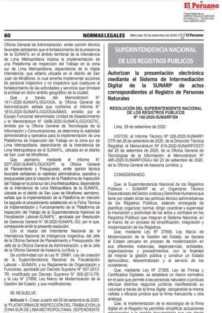 Presentación Electrónica En Registros Públicos – Personas Naturales Resolución 140-2020-SUNARP/SN