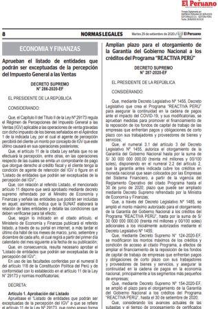 DecretoSupremo 287-2020-EF | Amplían El Programa Reactiva Perú