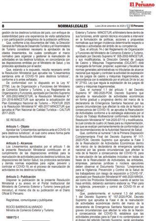 Resolución Ministerial 196-2020-MINCETUR | Protocolo Sanitario Para Salas De Juego