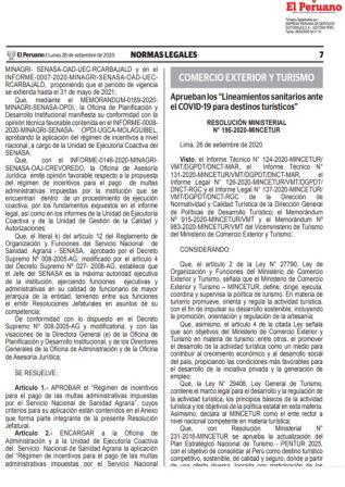 Resolución Ministerial 195-2020-MINCETUR | Lineamientos Sanitarios Para Destinos Turísticos
