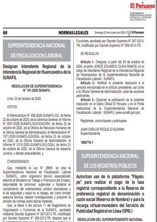 """Autorizan Uso De La Plataforma """"Págalo.pe"""" Para Realizar Pago De Reserva De Nombre"""