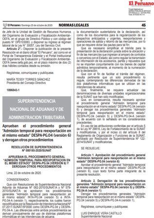 Modifican El Procedimiento De Admisión Temporal Para Reexportación En El Mismo Estado
