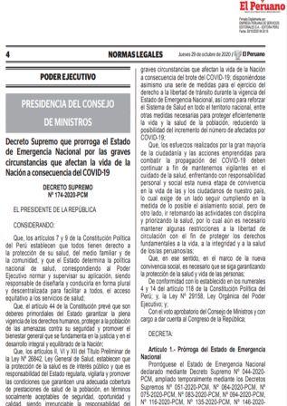 Prórroga Del Estado De Emergencia Nacional Por Covid-19