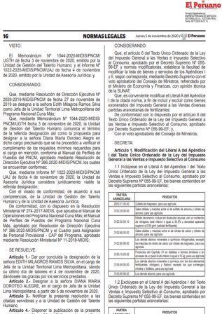 Exoneran Del IGV A Fertilizantes.