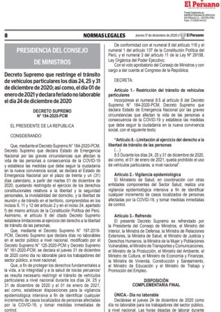 Decreto Supremo 194-2020-PCM