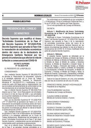 Decreto Supremo 183-2020-PCM