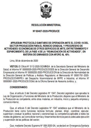Resolución Ministerial 00407-2020-PRODUCE
