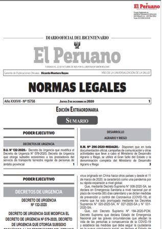 Decreto De Urgencia 132-2020
