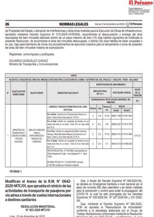 Resolución Ministerial 923-2020-mtc/01