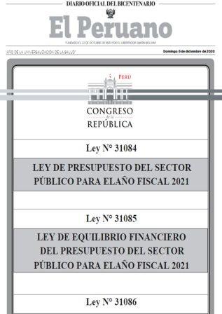 Leyes Relacionadas Con El Presupuesto Público 2021