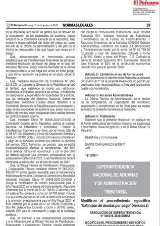 Resolución De Superintendencia 000216-2020/SUNAT