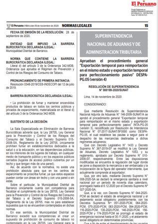Resolución De Superintendencia 000199-2020/SUNAT