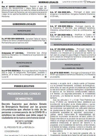 Decreto Supremo 184-2020-PCM