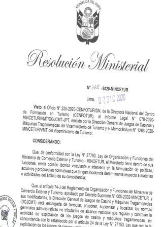 Resolución Ministerial 265-2020-MINCETUR