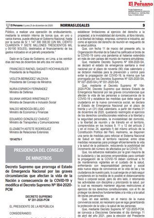 Decreto Supremo 201-2020-PCM