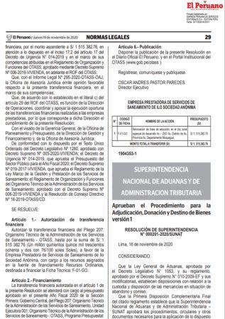 Resolución De Superintendencia 000201-2020/SUNAT