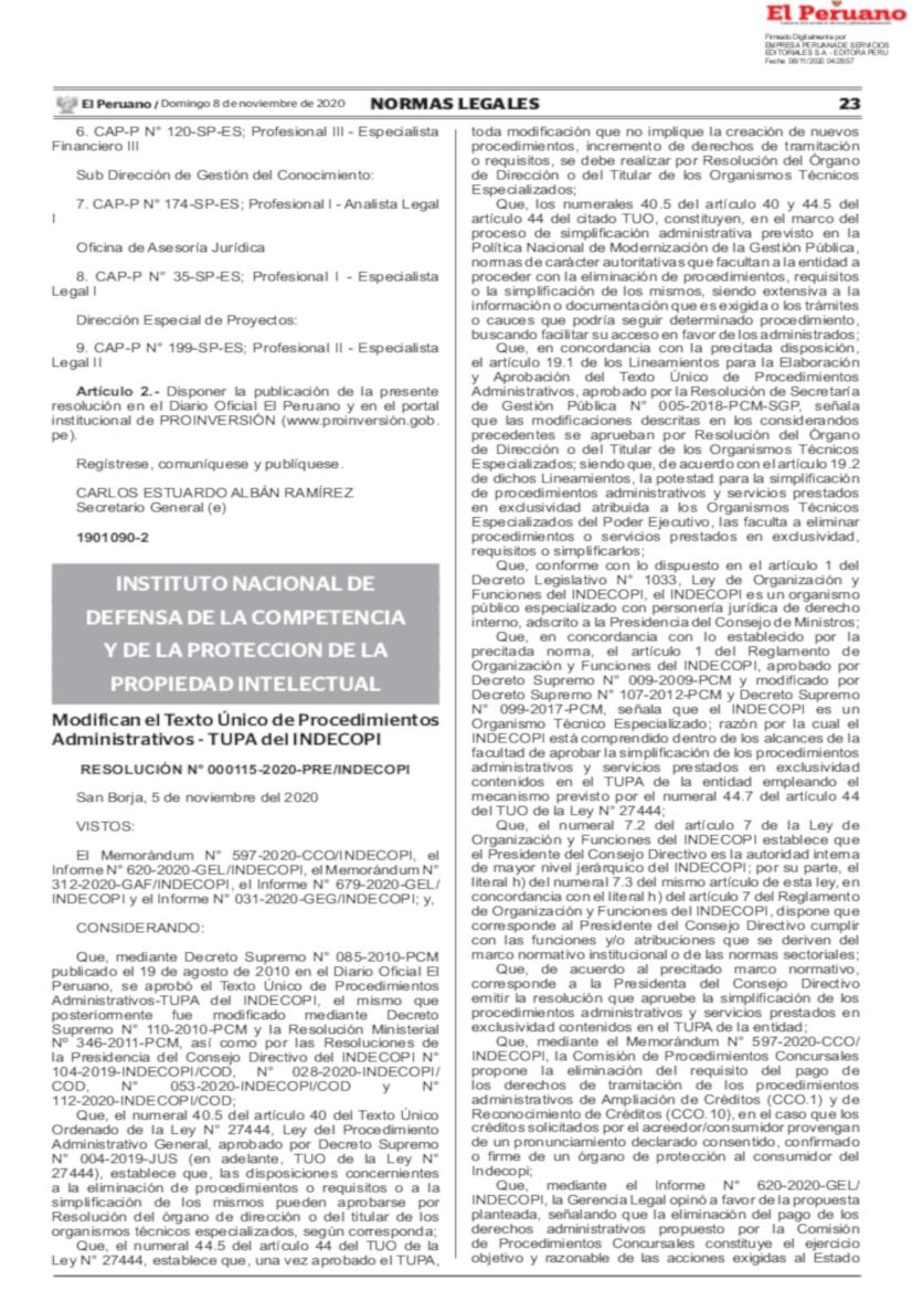 Resolución 000115-2020-PRE-INDECOPI
